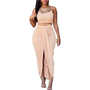 Faux Suede Two Piece Skirt Set